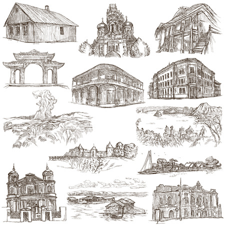 loci: Hand drawn illustratoins of Buildings, Places and Architecture around the World. Different styles. Full sized hand drawing collection. Pack of freehand sketches on white background.
