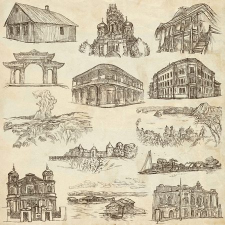 loci: Hand drawn illustratoins of Buildings, Places and Architecture around the World. Different styles. Full sized hand drawing collection. Pack of freehand sketches on old paper.