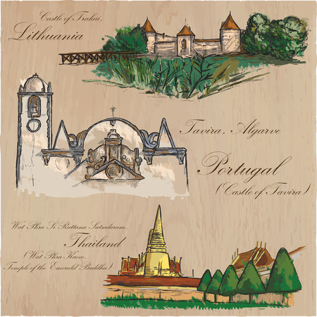 Architecture and famous places around the World. Collection of hand drawn colored vector illustrations. Each drawing comprises few layers of outlines, the colored background is isolated.