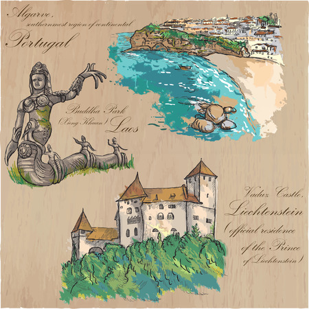 loci: Architecture and famous places around the World. Collection of hand drawn colored vector illustrations. Each drawing comprises few layers of outlines, the colored background is isolated.