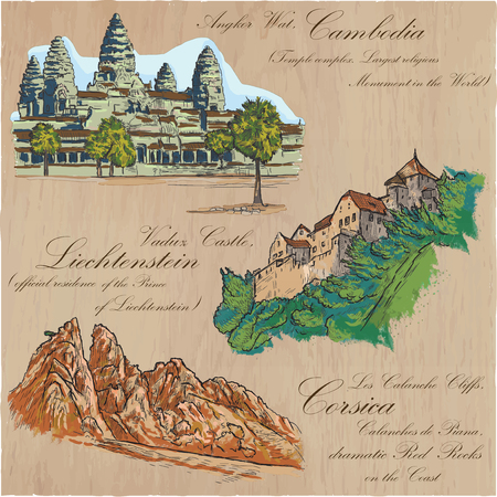 corsica: Architecture and famous places around the World. Collection of hand drawn colored vector illustrations. Each drawing comprises few layers of outlines, the colored background is isolated.