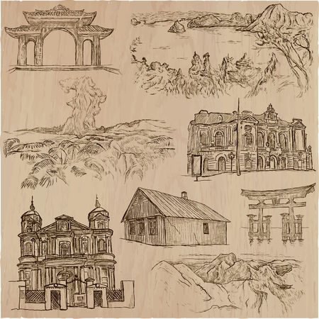 loci: Architecture and famous places around the World. Collection of an hand drawn vector illustrations. Each drawing comprises of three layers of outlines, the colored background is isolated. Illustration