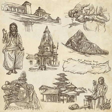 Travel, NEPAL. Pictures of Life. Full sized hand drawing collection. Hand drawn illustrations. Pack of freehand sketches on old paper background. Traveling around Federal Democratic Republic of Nepal.