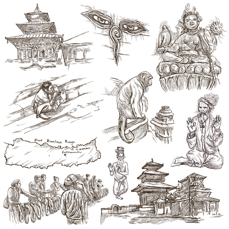 Travel, NEPAL.Pictures of Life.Full sized hand drawing collection.Hand drawn illustrations.Pack of freehand sketches on white, isolated pictures.Traveling around Federal Democratic Republic of Nepal.
