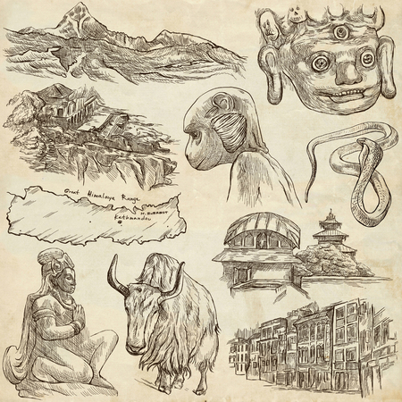 himalayas: Travel, NEPAL. Pictures of Life. Full sized hand drawing collection. Hand drawn illustrations. Pack of freehand sketches on old paper background. Traveling around Federal Democratic Republic of Nepal.
