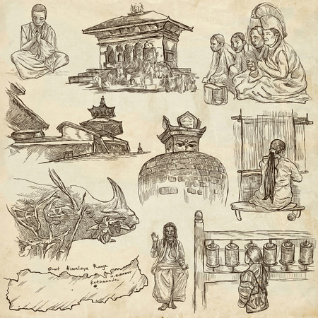 stupa: Travel, NEPAL. Pictures of Life. Full sized hand drawing collection. Hand drawn illustrations. Pack of freehand sketches on old paper background. Traveling around Federal Democratic Republic of Nepal.