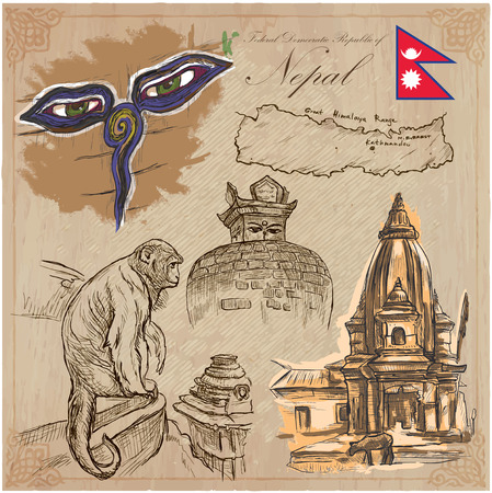 Travel, NEPAL.Pictures of Life.Vector hand drawn collection. Drawings, pack of colored line art illustrations.Set of freehand sketches, outlines.Traveling around Federal Democratic Republic of Nepal.