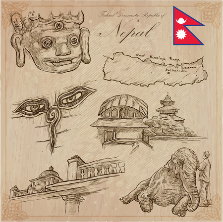 Travel, NEPAL. Pictures of Life. Vector hand drawn collection. Drawing, pack of line art illustrations. Set of freehand sketches, outlines. Traveling around Federal Democratic Republic of Nepal.
