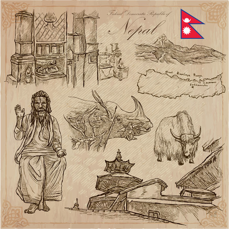 Travel, NEPAL. Pictures of Life. Vector hand drawn collection. Drawing, pack of line art illustrations. Set of freehand sketches, outlines. Traveling around Federal Democratic Republic of Nepal. 向量圖像