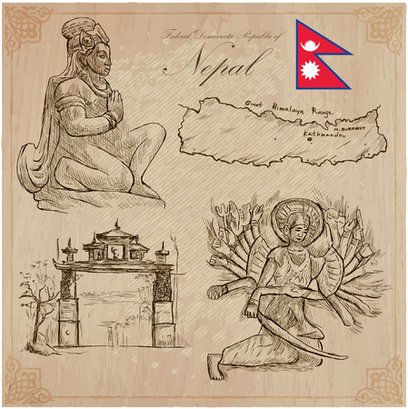 Travel, NEPAL. Pictures of Life. Vector hand drawn collection. Drawing, pack of line art illustrations. Set of freehand sketches, outlines. Traveling around Federal Democratic Republic of Nepal. Illustration
