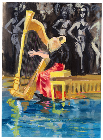 Tempera technique on paper. An hand painted picture, illustration. Music theme.  Musician - Harp player. Stock Photo
