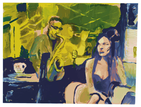 Tempera technique on paper. An hand painted picture, converted vector illustration. Music theme.  Musician - Saxophonist and dark hair woman at the night club.