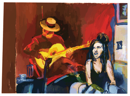 spanish woman: Tempera technique on paper. An hand painted picture, converted into vector illustration. Music theme.  Musician - spanish guitarist and an dark hair woman.