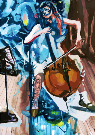 acoustics: Tempera technique on paper. An hand painted picture, converted into vector illustration. Music theme.  Musician - Cello player.