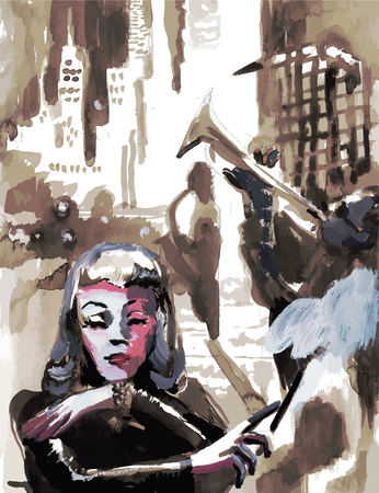 Tempera technique on paper. An hand painted picture, converted into vector illustration. Music theme.  Musician - trumpeter and smoking woman in front of skyscrapers.
