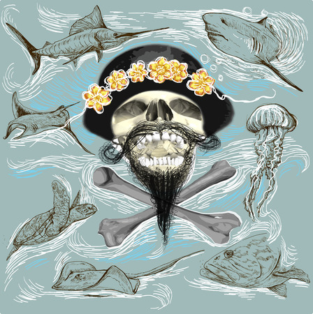 Bearded pirate skull and underwater life - an hand drawn vector. Freehand sketching. Illustration