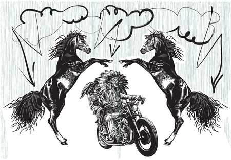 old times: An hand drawn vector, freehand sketching. Native American couple, lovers, drive a motorycle. Riders on the storm. (The bike is not specific brand - something as a common chopper.)