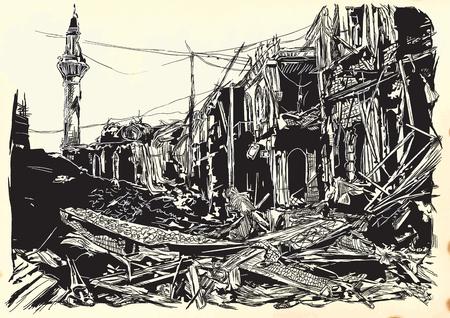 Una ilustración vectorial dibujado a mano - lugar de guerra. Ruinas de una ciudad de Oriente Medio, ciudad. Dibujo sobre papel viejo. Islámico, mundo musulmán.