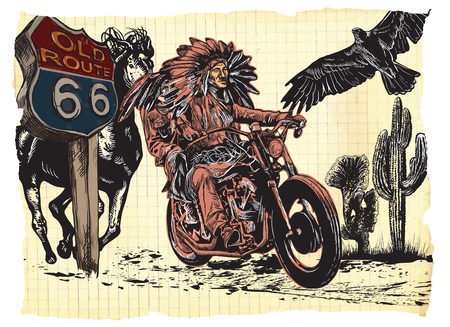An hand drawn vector, freehand sketching. Native American couple, lovers, drive a motorycle. Paper riders. (The bike is not specific brand - something as a common chopper.)