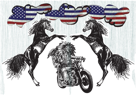 An hand drawn vector, freehand sketching. Native American couple, lovers, drive a motorycle. (The bike is not specific brand - something as a common chopper.) Ilustrace