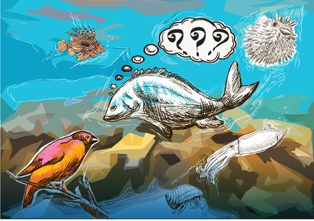 humorous: An hand drawn humorous vector - underwater meeting between sea animals and bird.