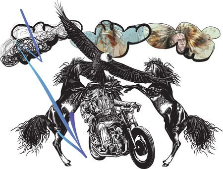 specific: An hand drawn vector, freehand sketching. Native American couple, lovers, drive a motorycle. (The bike is not specific brand - something as a common chopper.) Illustration