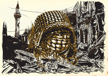 Muslim woman with big eyes, wearing a niqab in front of War place. Hand drawn vector illustration. Ruins of an town, city. Drawing on paper. Islamic, Muslim World.  - - This is not a real person - -