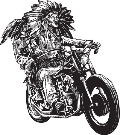 An hand drawn vector, freehand sketching. Native American couple, lovers, drive a motorycle. (The bike is not specific brand - something as a common chopper.) Illustration