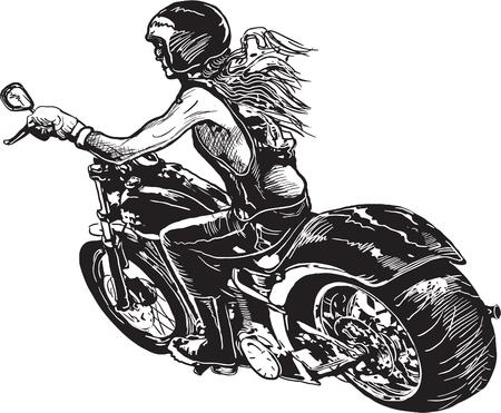 Een vrouw rijden motorfiets. Vrijhandse tekening, schets. Geïsoleerd op wit, Stock Illustratie