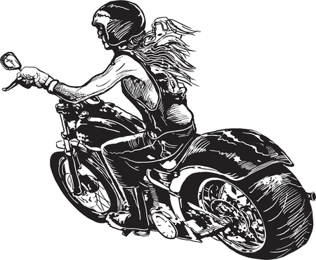 An woman riding motorcycle. Freehand drawing, sketch. Isolated on white, Illustration