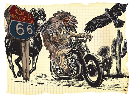 An hand drawn vector, freehand sketching. Native American couple, lovers, drive a motorcycle. Paper riders. Note - The bike is not specific brand - something as a common chopper.