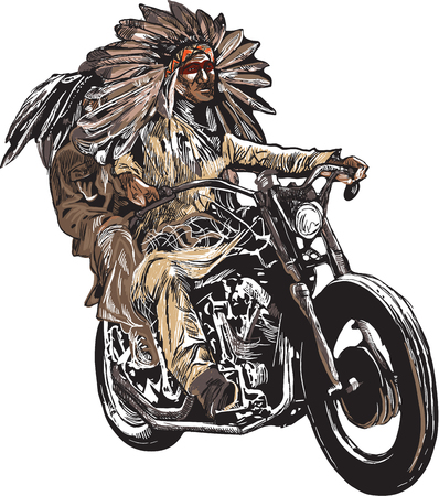 old times: An hand drawn vector, freehand sketching. Native American couple, lovers, drive a motorcycle. Note - The bike is not specific brand - something as a common chopper. Colour version of riders.