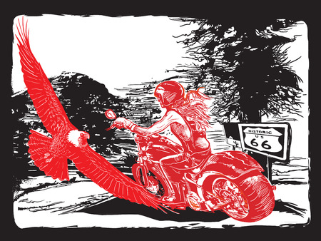 An woman from behind riding motorcycle, chopper bike on the route 66. Freehand drawing, vector sketch. NOTE - this illustration have not photo oportunity, woman is also not real person.