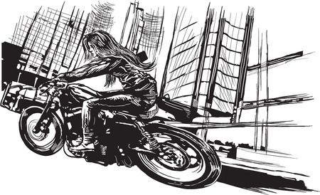 An young woman with long hair riding motorcycle, fast bike in a modern city. Freehand drawing, vector sketch. NOTE - this illustration have not photo oportunity, woman is also not real person. Illustration