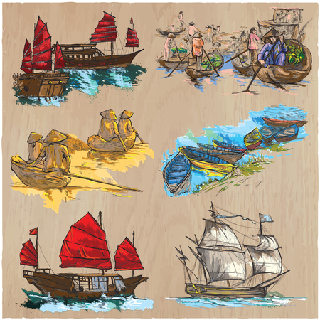 Boats and Ships around the World.Collection of an hand drawn colored vector illustrations.Each drawing comprises of three or four layers of lines and colored background.Wood texture, is also isolated.