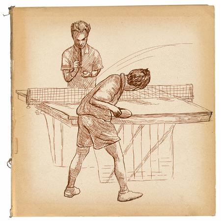 Illustrazione disegnata a mano. Sport, TENNIS TAVOLO, Ping-pong. Tecniche di arte di linea, disegnando su vecchia carta. Archivio Fotografico - 81676494