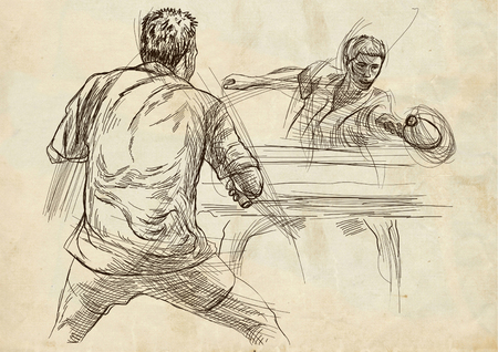 Illustrazione disegnata a mano. Sport, TENNIS TAVOLO, Ping-pong. Tecniche di arte di linea, disegnando su vecchia carta. Archivio Fotografico - 81676504