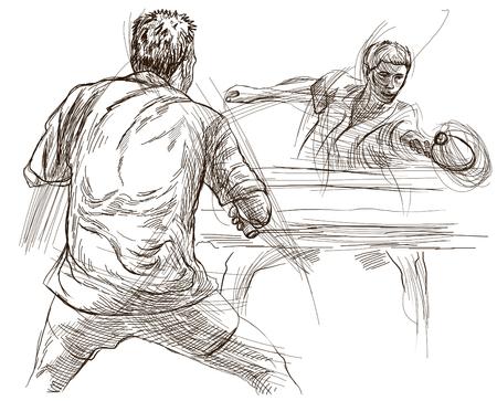 Un'illustrazione disegnata a mano. Sport, TENNIS DA TAVOLO, Ping-Pong. Tecniche Line Art, disegno su bianco. Archivio Fotografico - 81676501