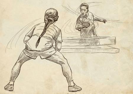 Illustrazione disegnata a mano. Sport, TENNIS TAVOLO, Ping-pong. Tecniche di arte di linea, disegnando su vecchia carta. Archivio Fotografico - 81676497