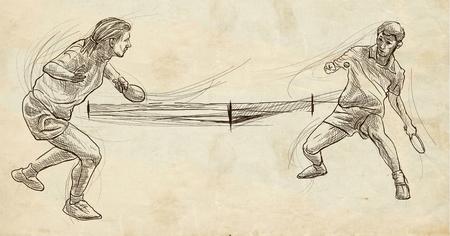 Illustrazione disegnata a mano. Sport, TENNIS TAVOLO, Ping-pong. Tecniche di arte di linea, disegnando su vecchia carta. Archivio Fotografico - 81676510