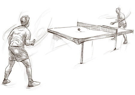 Sport, TENNIS DA TAVOLO, Ping Pong. Tecniche Line Art. Archivio Fotografico - 81976868