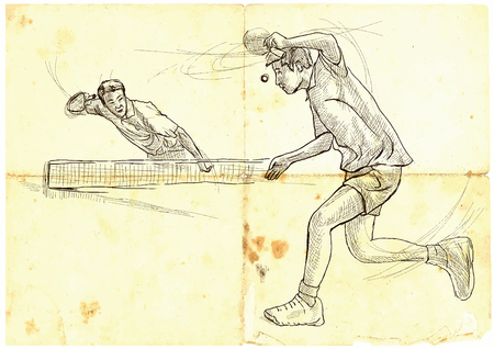 An hand drawn illustration, vector. Sport, TABLE TENNIS. Line art techniques, drawing.