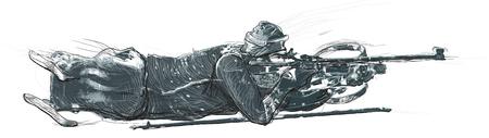 PARA BIATHLON. Uit de serie SILENT HEROES. Para Sport en beweging. Een hand getrokken meerlagige vector. Opmerking - Op de foto zijn geen echte mensen.