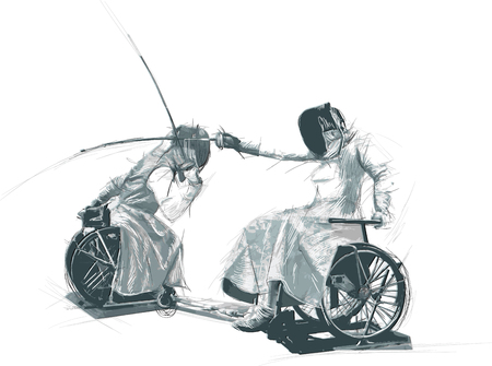 FENCING. From the series SILENT HEROES - Athletes with physical disabilities. An hand drawn vector.