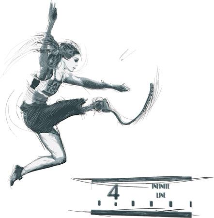Atletiek - LANGGANG. Uit de serie SILENT HEROES - Sporters met lichamelijke beperkingen. Een hand getrokken vector. - - - Opmerking - Elke accurate foto-origineel voor deze foto, origineel is gemaakt door mij - - -