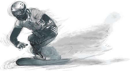 Snowboard. Uit de serie SILENT HEROES - Sporters met lichamelijke beperkingen. Een hand getrokken vector. Opmerking - Elke accurate foto-origineel voor deze foto, origineel is gemaakt door mij.