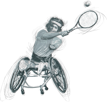 WHEELCHAIR TENNIS. From the series SILENT HEROES - Athletes with physical disabilities. An hand drawn vector. Note - Any accurate photo original for this picture, original is created by me.