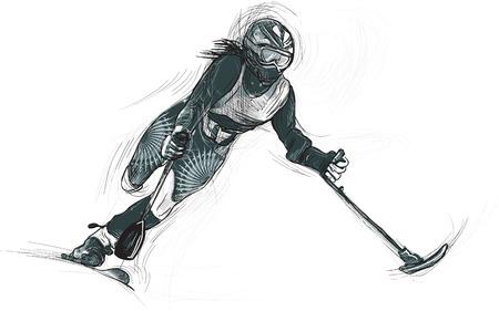 ALPIEN SKIÃ‹N. Uit de serie SILENT HEROES - Sporters met lichamelijke beperkingen. Een hand getrokken vector. Opmerking - Elke accurate foto-origineel voor deze foto, origineel is gemaakt door mij. Stock Illustratie