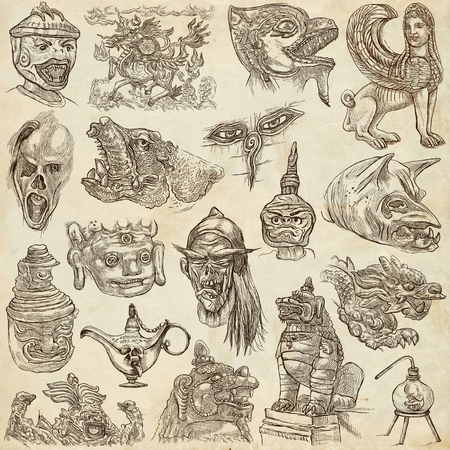 An hand drawn collection. Pack of Monsters. Horror. Line Art technique.