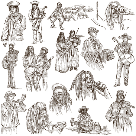 Music and MUSICIANS around the World. Collection of an hand drawn illustrations on white background. Isolated. Stock Photo